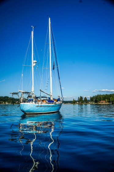 Our beautiful blue Westsail 42!