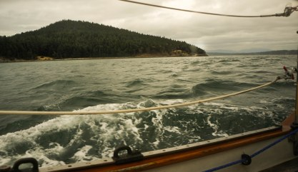 You can see out of the galley windows! You can see how fast we're moving! Look at those bubbles!