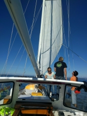 Leaving Port Townsend, setting the first sail.