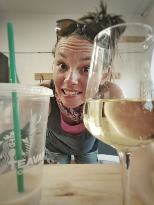 """As Beth's dad calls it, """"flipping the switch"""" while prepping the meals. Coffee to wine!"""