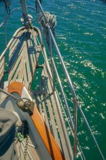 The old bowsprit was missing a plank after our trip from Santa Cruz Island to Redondo Beach
